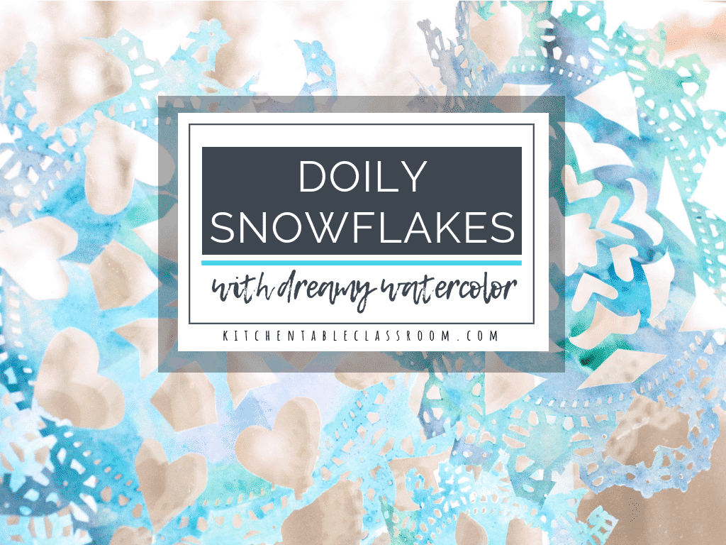 These dreamy doily snowflakes are perfect for making snowflakes with young kids just building scissor skills. Cool watercolors add extra interest and fun!