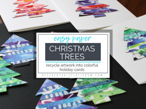 Recycle your kid's own artwork to make this colorful paper Christmas tree craft. Make your own personalized Christmas cards with this easy holiday craft!