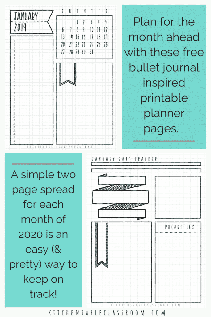 Use these 24 free bullet journal monthly spread planning pages to prioritize, plan, and dream. Free printable bullet journal monthly templates for 2020!