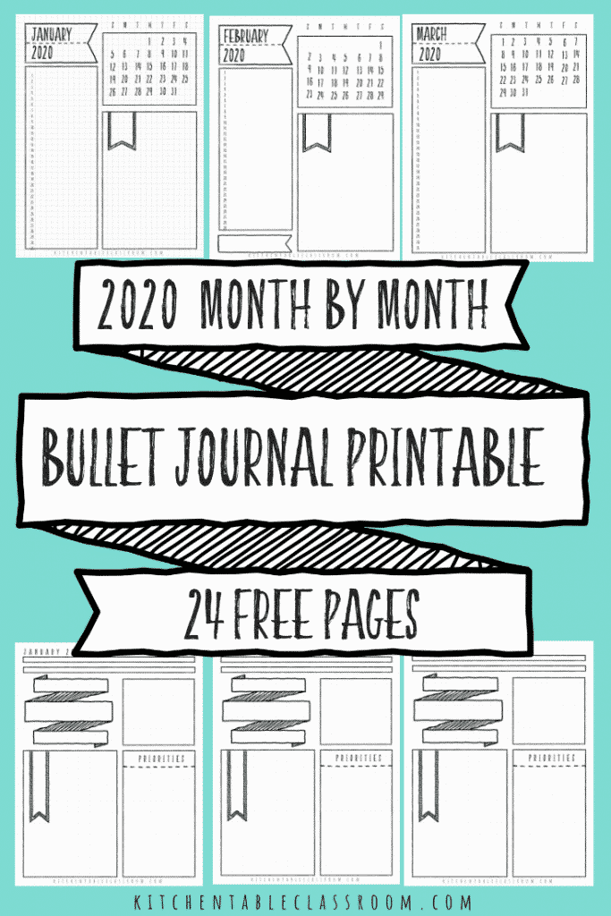 Soft image inside bullet journal monthly spread printable