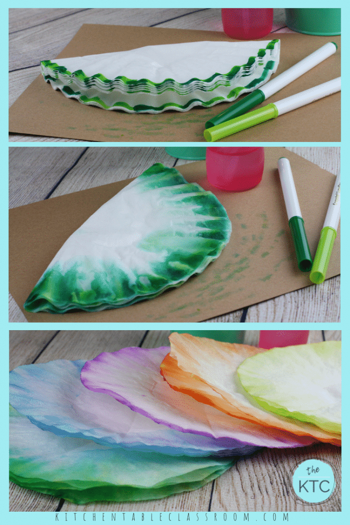These coffee filter Christmas trees are so easy & inexpensive. All you need are paper plates, coffee filters, & markers. SO pretty and perfect for a group!