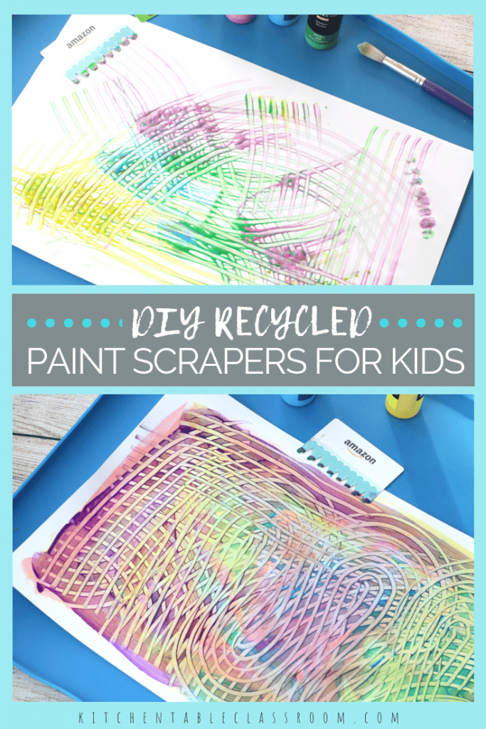Recycle an old credit card or gift card to make this DIY paint scraper for kids. Create interesting textures & patterns with this easy process art activity!