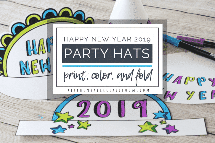 Printable templates for New Year's party hats make an easy and fun New Year's craft for kids. Print, color, fold, and wear!