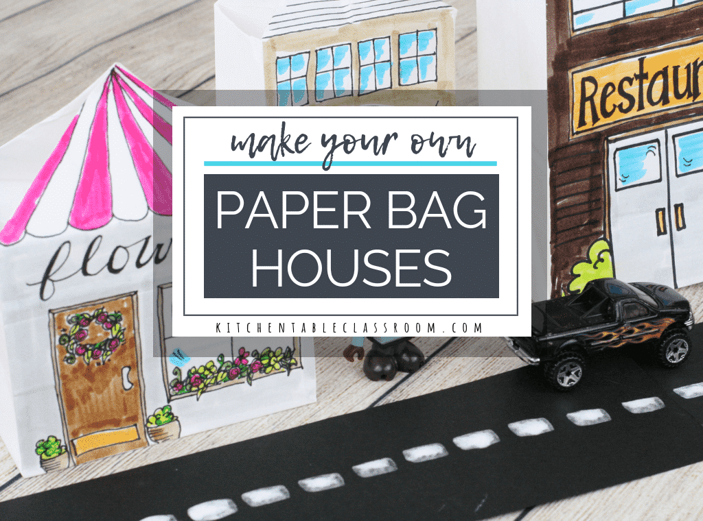 A few folds of a paper bag and you get these pop up, three dimensional houses. Making is just the beginning of the fun with this paper bag craft. Now play!