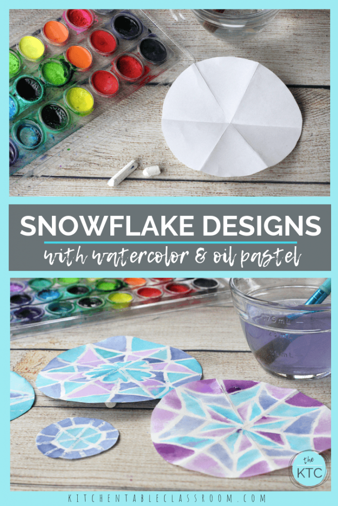 These pretty snowflake designs are easy to draw thanks to this simple fold & draw method. They perfectly showcase the oil pastel & watercolor resist method.
