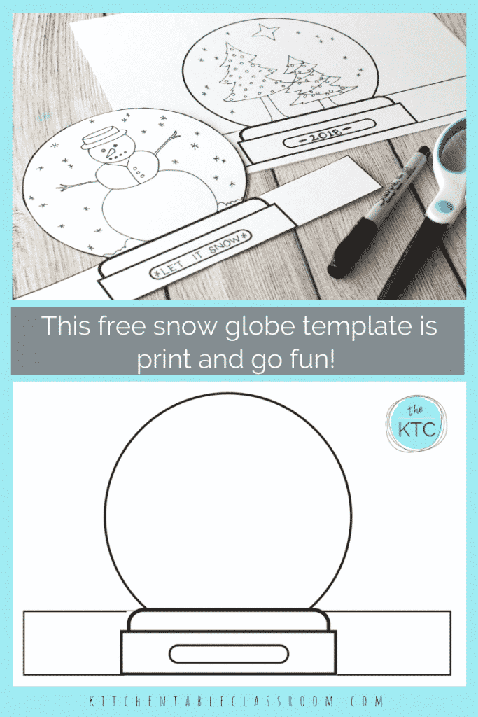 graphic relating to Printable Globe known as Deliver a Snowglobe- Print Attract Stand-up Template - The