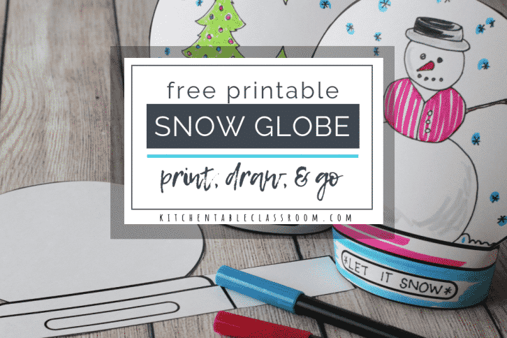 This fun snow globe craft starts with a free printable snow globe template. Print, draw, and create your own stand up snow globe wonderland!