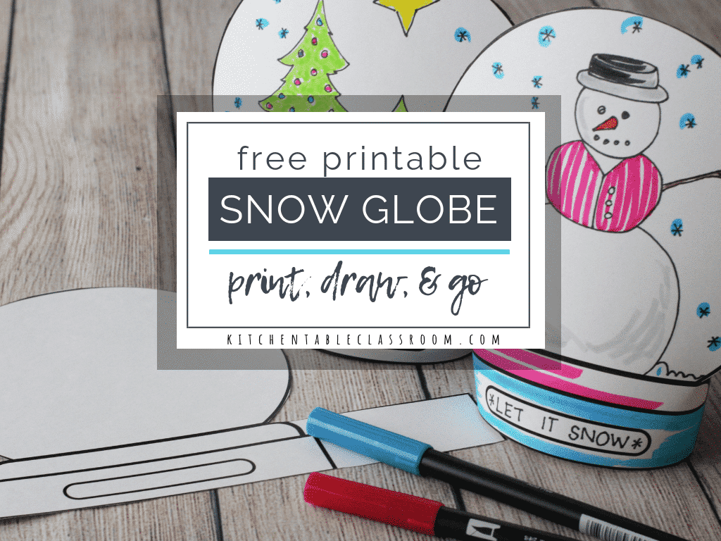 graphic relating to Printable Globes named Deliver a Snowglobe- Print Attract Stand-up Template - The