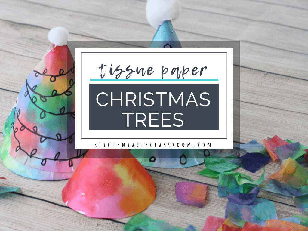 These tissue paper Christmas trees are a fast & easy Christmas craft for any age. Make a Christmas tree from a paper plate & add color with tissue paper!