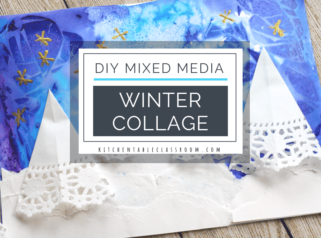 This mixed media winter scene painting and collage brings together simple art techniques and materials for a unique and colorful winter painting!