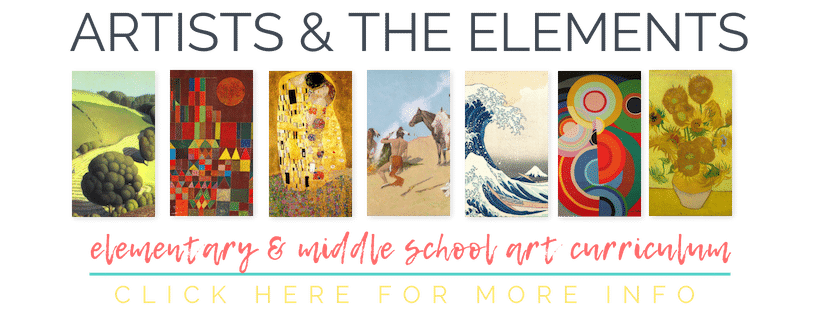 The Artists and the Elements is a year long art curriculum designed to connect the elements of art, art history, and hands on, fun art projects!