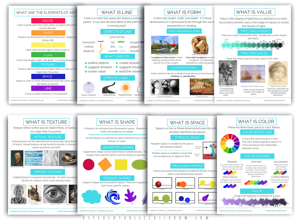 The elements illustrated is a complete digital bundle of printable element of art posters & resources. Full color elements of art posters in 2 sizes & more!