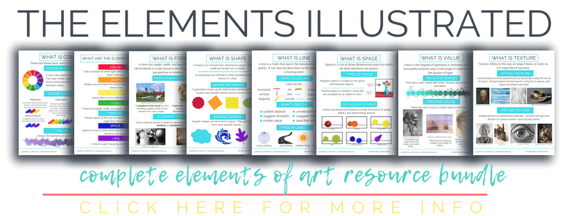 Check out the details of the Elements Illustrated Resource Bundle. Poster books, worksheets, and prompts to make teaching the elements of art easy!