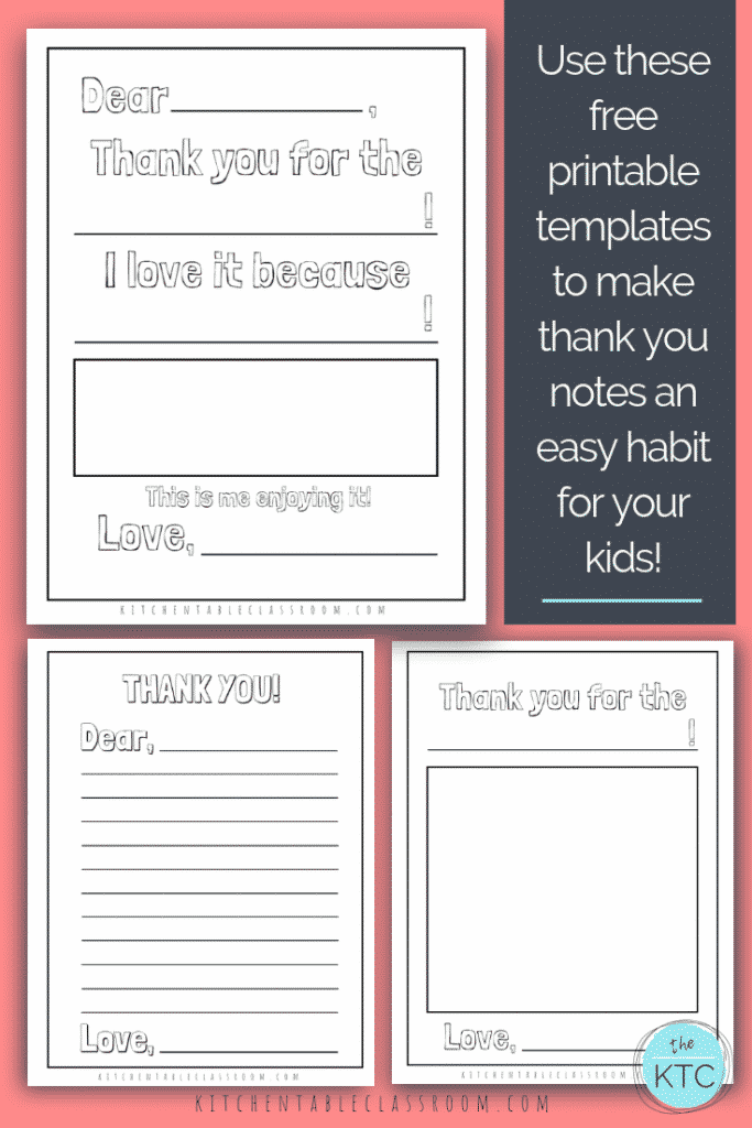 image relating to Free Printable Thank You Card Template titled Printable Thank On your own Playing cards for Children - The Kitchen area Desk Clroom