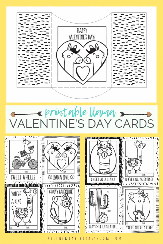 photo relating to Printable Valentines Black and White named Llama Valentines- Cost-free Printable Valentines Playing cards toward Colour