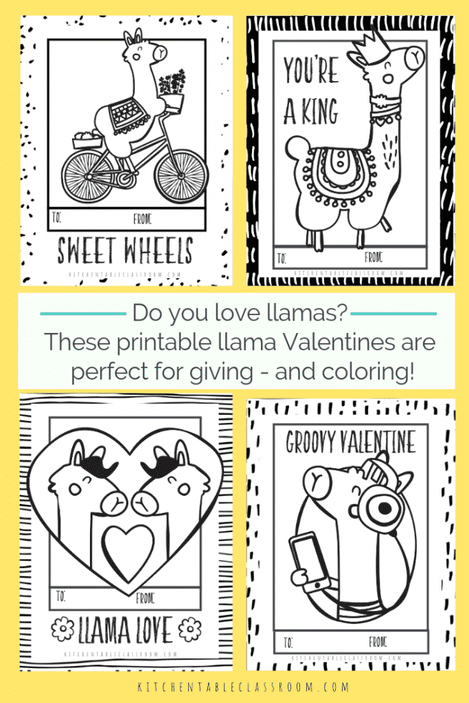 Llama Valentines- Free Printable Valentines Cards to Color - The ...