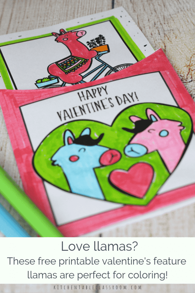 These llama Valentines are perfect for the llama obsessed. These free printable Valentines cards to color are ready to cut, color, & give! SImple!
