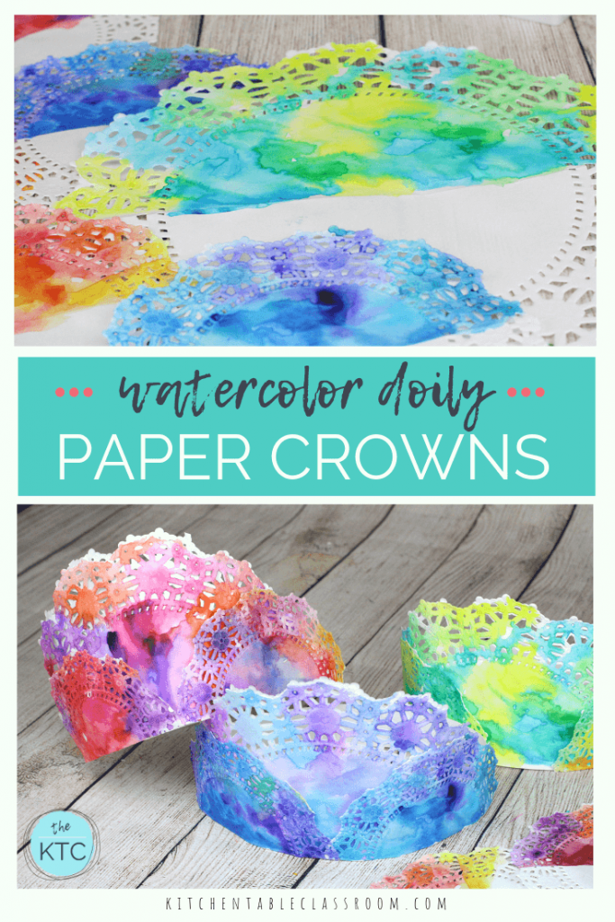 Make these colorful painted crowns perfect for any celebration or play date. All you need are doilies and watercolors for these DIY paper crowns.