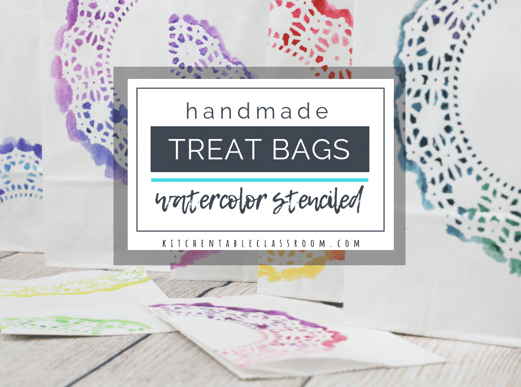 These hands printed paper treat bags are perfect for Valentine's bags and more. Paper doily stencils make these DIY gift bags a treat in themselves.