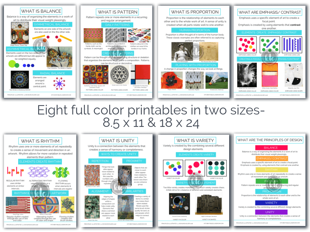 full color principles of design posters for teachers