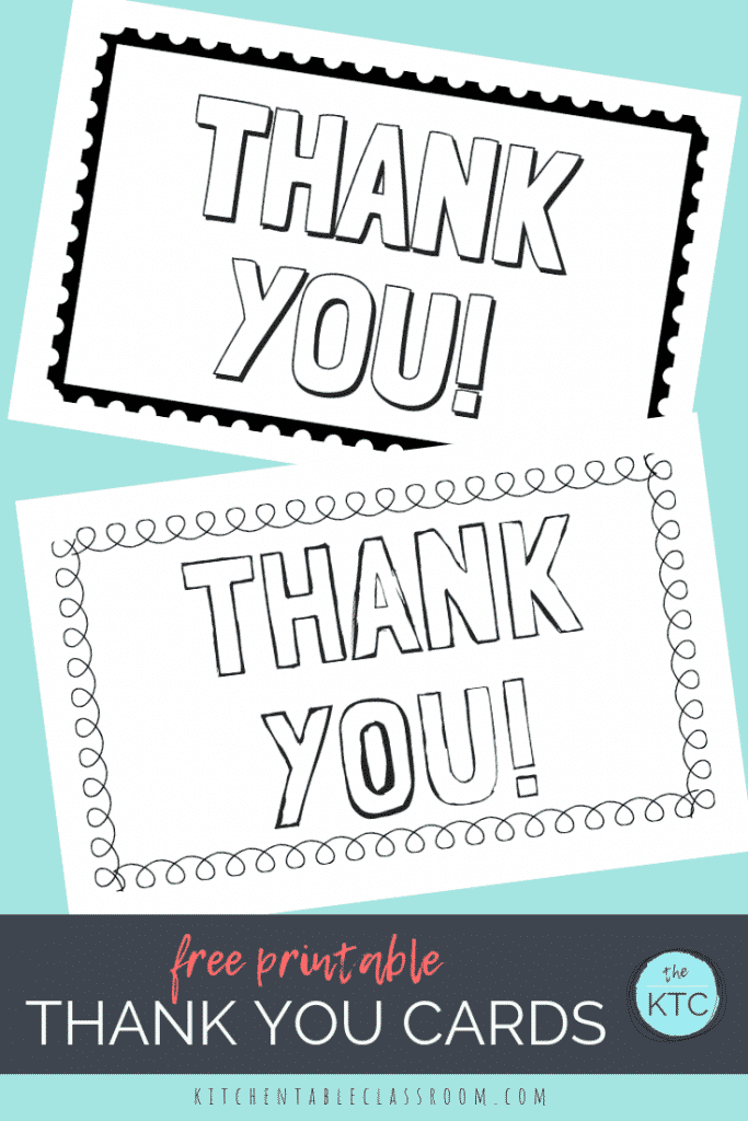 picture regarding Printable Thank You Cards for Students titled Printable Thank By yourself Playing cards for Little ones - The Kitchen area Desk Clroom