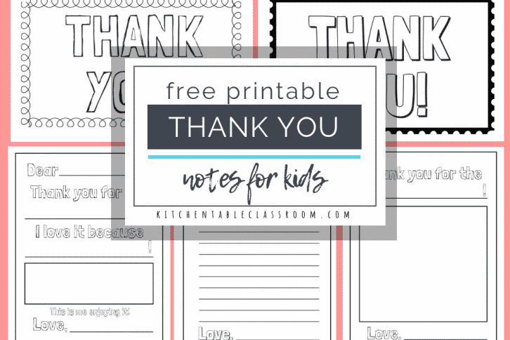 These free printable thank you cards for kids make writing thank you notes an easy habit for kids. FIve different thank you note templates for you to print.