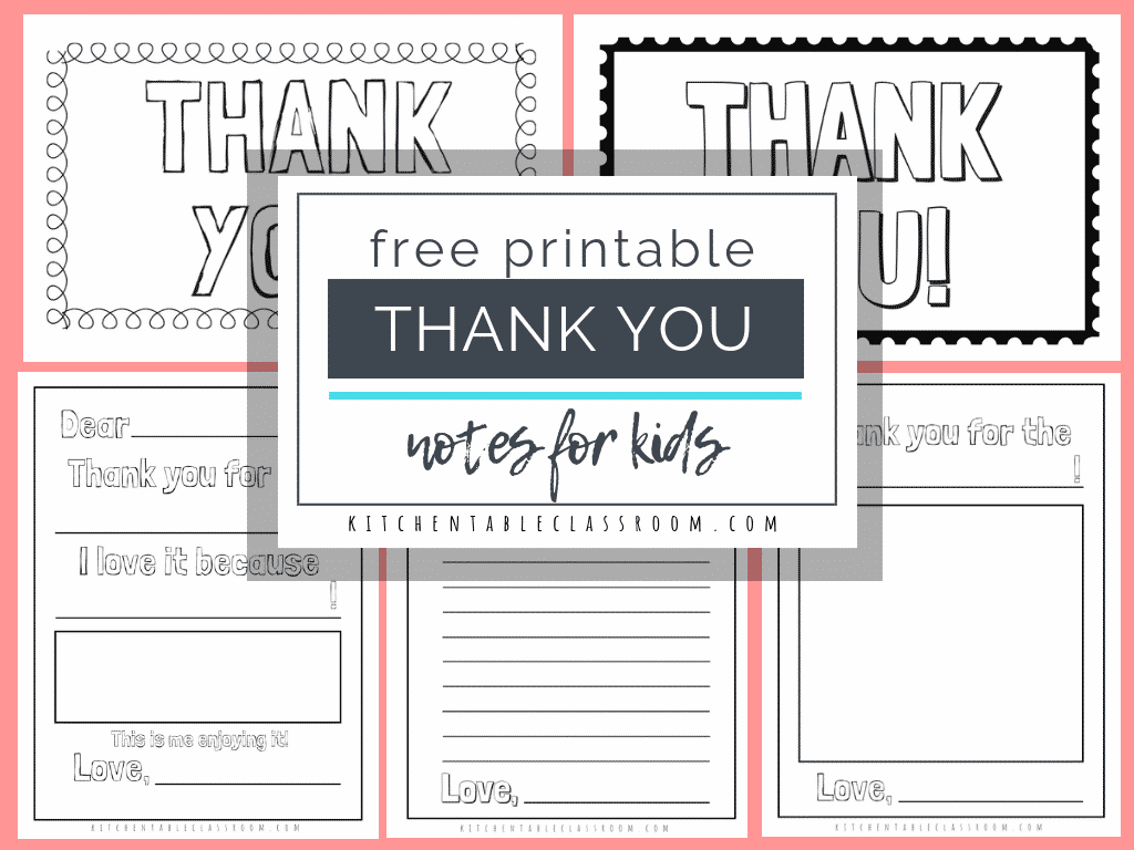 picture regarding Free Printable Thank You Card Template named Printable Thank Yourself Playing cards for Small children - The Kitchen area Desk Clroom