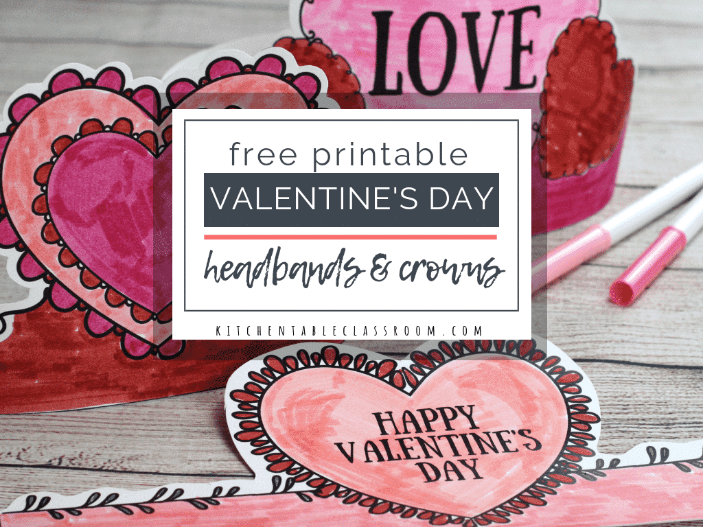 photo about Happy Valentines Day Printable named Valentines Working day Headbands- Exciting Printable Crowns - The