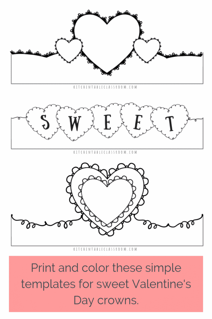 Use marker or crayon to add color to these free printable Valentine's Day headbands and you've got a Valentine's Day craft kids can wear!