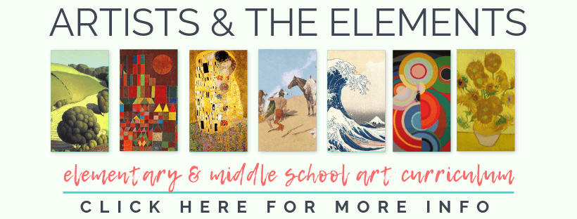 The Artists and the Elements is a complete elementary art curriculum designed to connect art history, the elements of art, and fun, hands on projects!