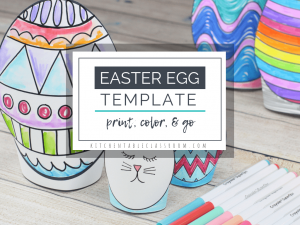 This Easter egg template set includes five different Easter egg printables in two different sizes. Print, cut and design these sweet stand up Easter eggs!