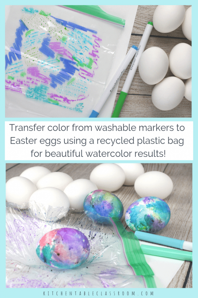 Learn how to decorate Easter eggs with washable markers! Three easy ways to make Easter eggs result in vibrant watercolor like eggs!