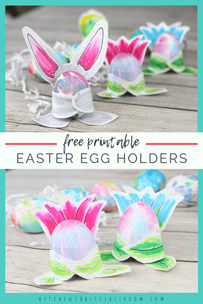 This set of three printable Easter egg holders is ready for your child to cut & decorate. A bunny, chick, & flower template will hug your Easter eggs!