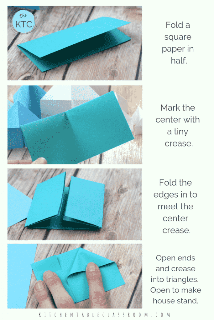 Get detailed directions and a video demonstration for this simple origami house. Make these paper houses in minutes and let them inspire play long beyond!