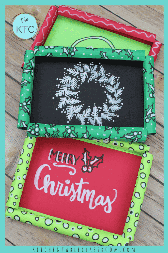 These paper picture frames easily lend themselves to the holiday theme!