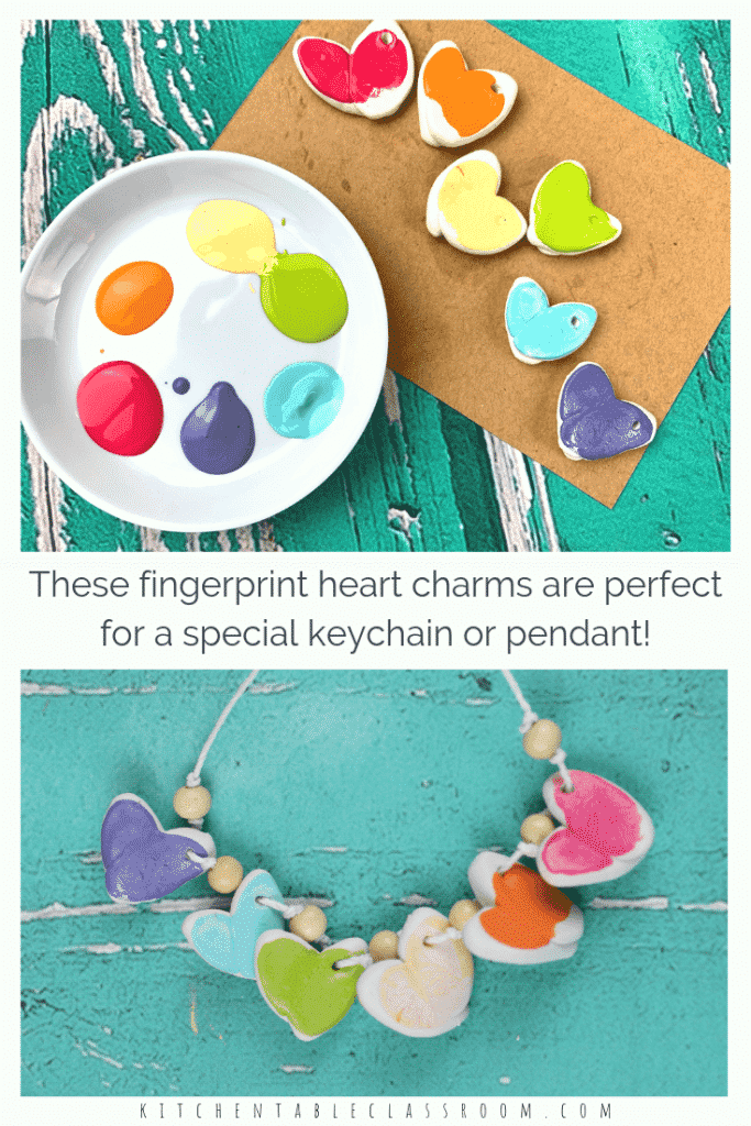 Make these colorful fingerprint charms with polymer clay. Perfect for a necklace or keychain- these heart charms make a perfect homemade gift! #kidscrafts