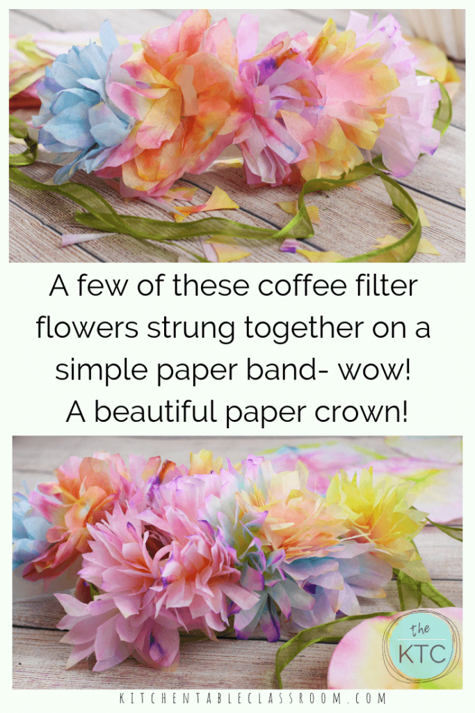 This flower tiara uses flowers that you won't believe are made from coffee filters to create DIY flower crowns. Flower headbands are perfect for a day of play!