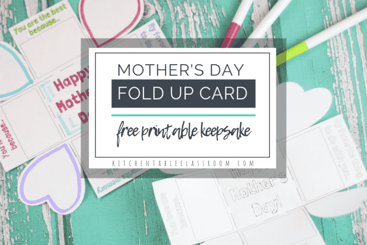 This Mother's Day card printable for kids prints on standard size paper, folds up into a tiny square, and has prompts for writing & drawing sweet memories!