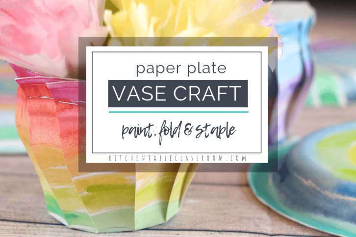 This pretty paper vase craft starts with a colorful painted paper plate and with a few cuts & staples turns it into a paper vase perfect filling or gifting.