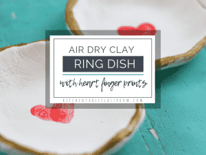 A simple air dry clay recipe gets these ring holder dishes started. This heart fingerprint craft makes a ring dish perfect for a keepsake gift!
