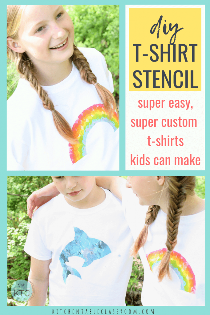 This DIY t shirt painting uses freezer stencil paper to make a custom DIY stencil. Use the free stencil templates to make these fun painted shirts.