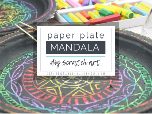 "Make your own DIY scratch art with this simple paper plate mandala project. Oil pastels and black tempera paint team up for a simple mandala that ""pops!"""