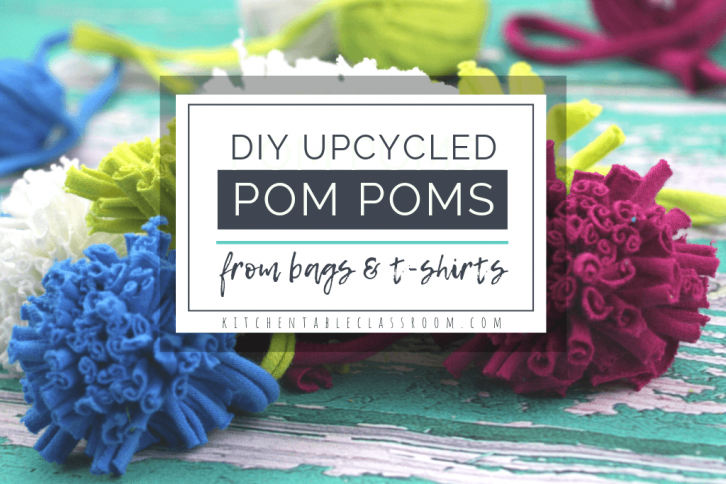 These DIY pom poms are made with a homemade pom pom maker using upcycled materials. Recycle household materials to make plastic pom poms & tshirt pom poms!