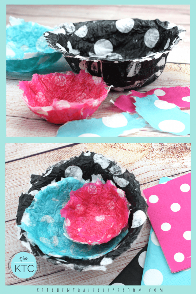 These easy paper mache bowls come together quickly and with a super fun pattern thanks to an unlikely supply list! Napkins to create an unexpected pop!