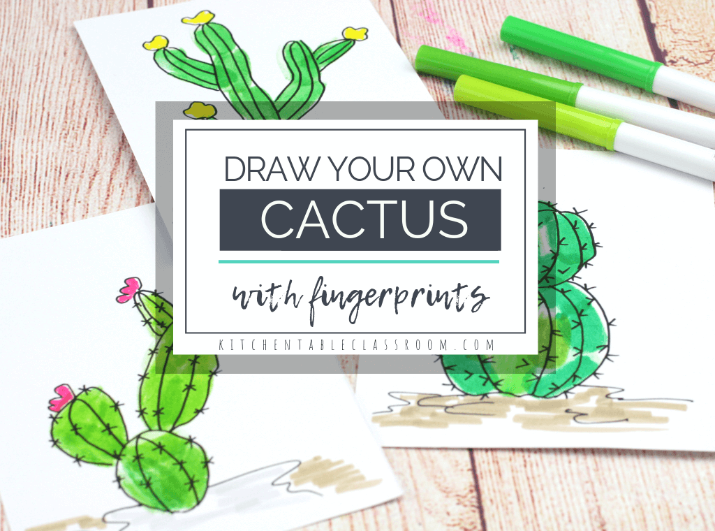 Create your own cactus drawing with washable marker fingerprints and a few fun doodles. All you need are washable markers for this easy kids drawing lesson!