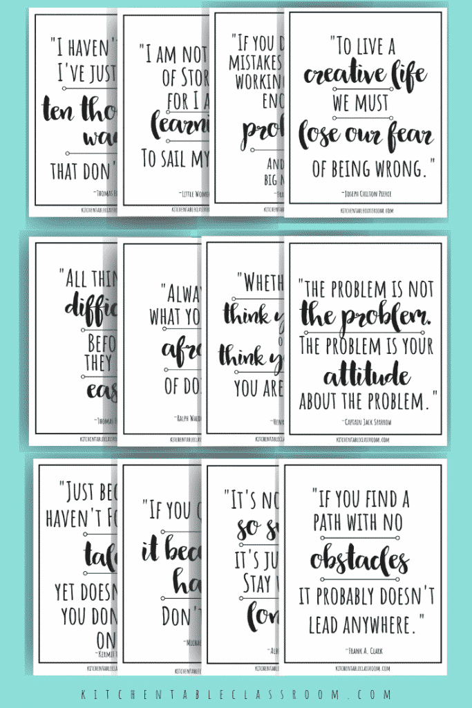 Use these blank growth mindset quotes and let your kids add their own mark! Color, paint, and design away!