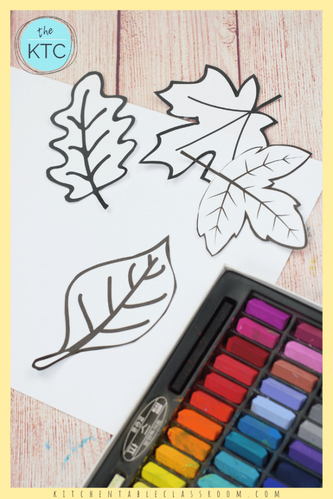 This easy leaf art combines free leaf templates with chalk pastels for a colorful play on positive & negative shapes in nature! #fallcraft #leafcraft