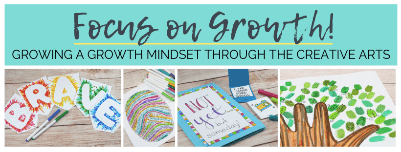 Use the simple materials and fun visual arts projects to explore a growth mindset!