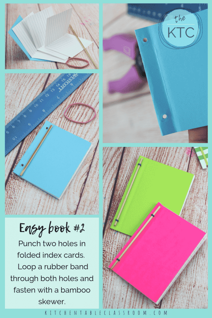 Learn how to make a book with these three easy book binding ideas perfect for kids! Grab some index cards and rubber bands and get busy!