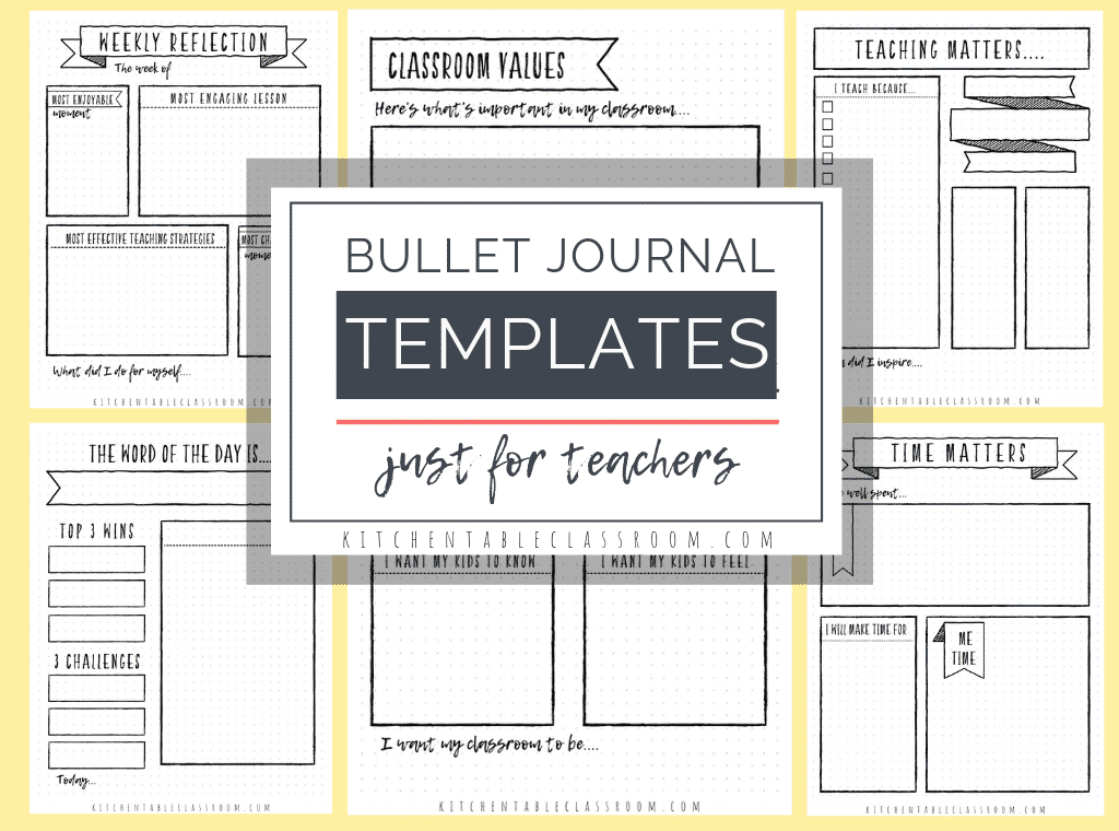 These five free printable bullet journal templates for teachers will help you reflect on your day, your week, and your most effective teaching strategies.